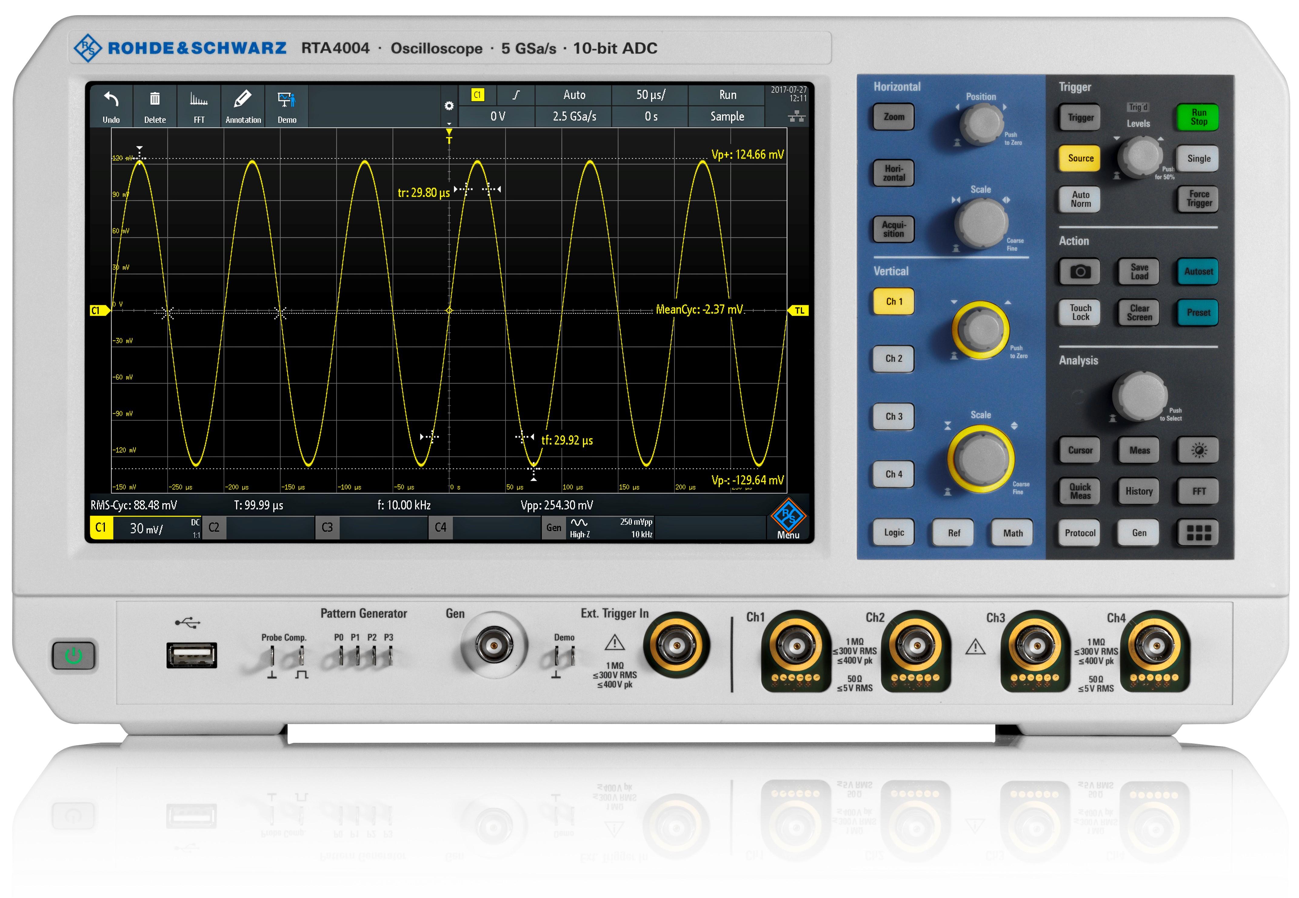 RTA4000 serie digitale oscilloscopen van Rohde & Schwarz