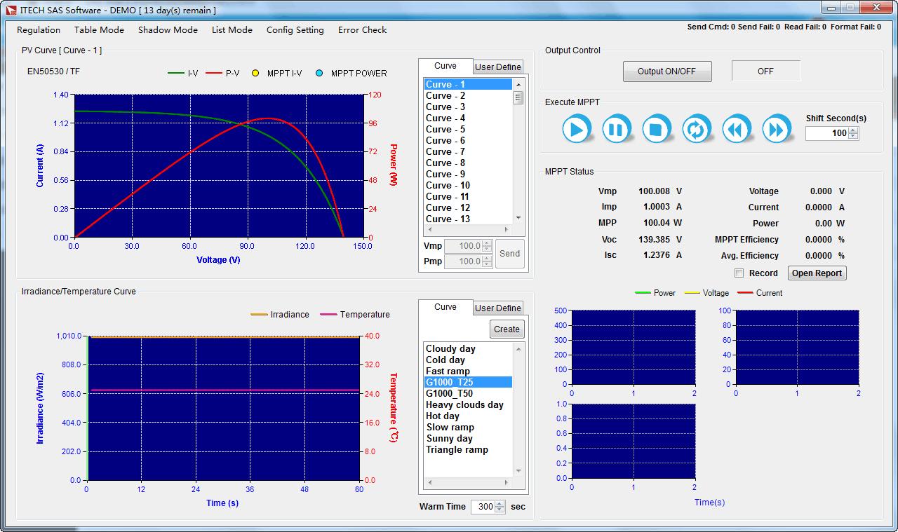 Itech SAS1000 zonnepaneel simulatie software